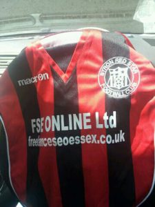 A picture of Byron Red Star's latest football kit with our FSE details