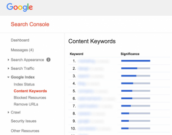 search console content keywords