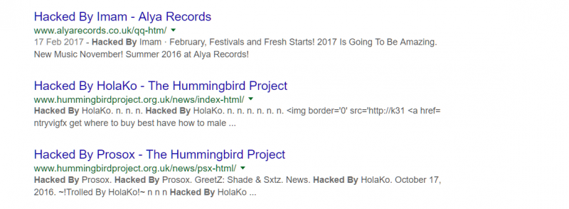 Hacked pages in Google