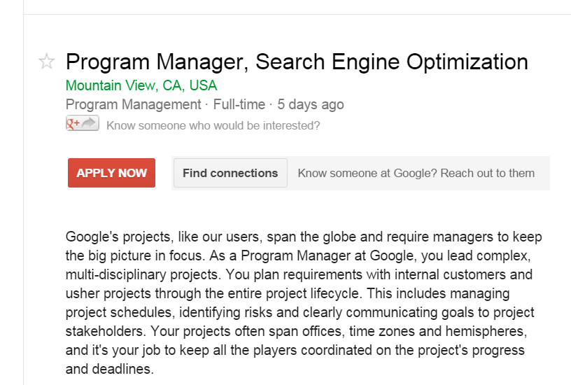 Google job advert