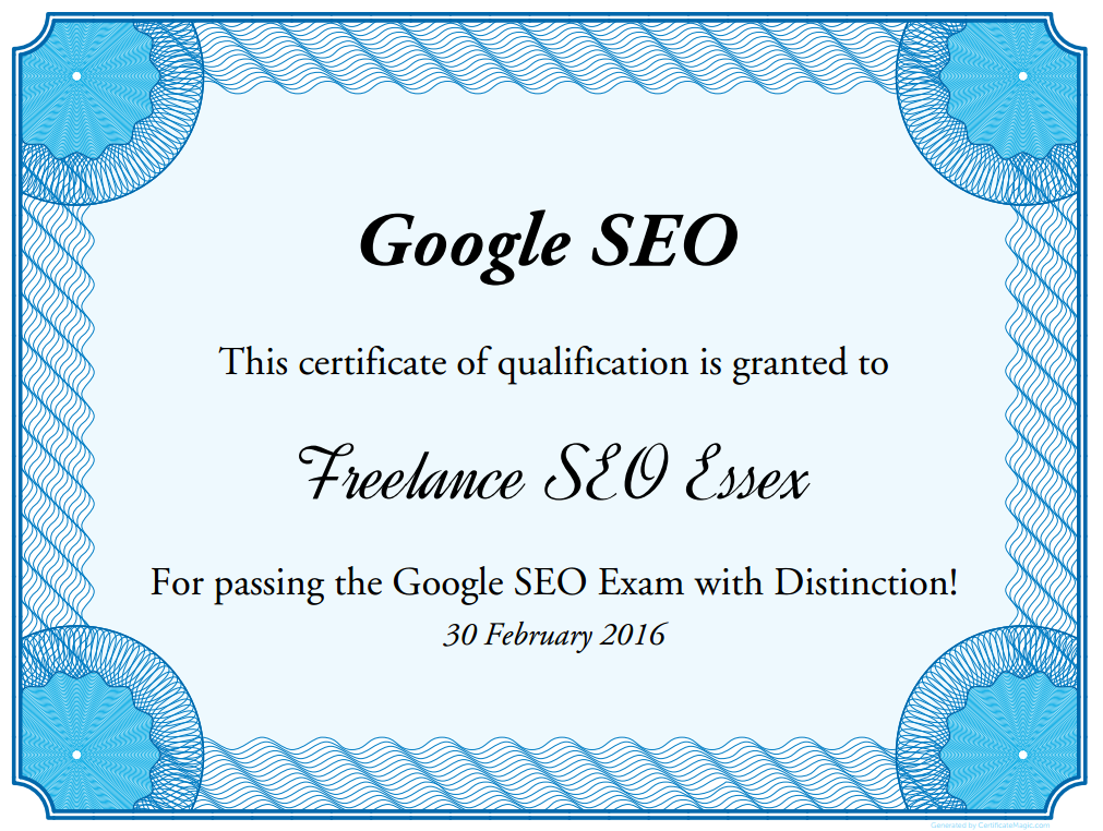 Google Does Not Issue Seo Certificates Freelance Seo Essex