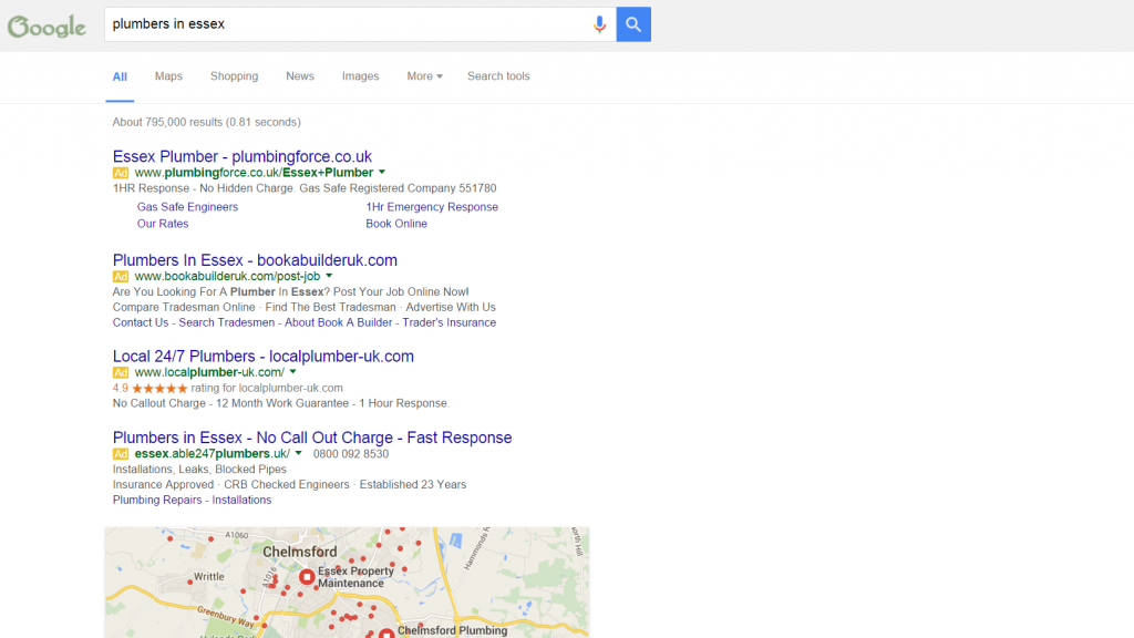 Plumbers in Essex Google AdWords results