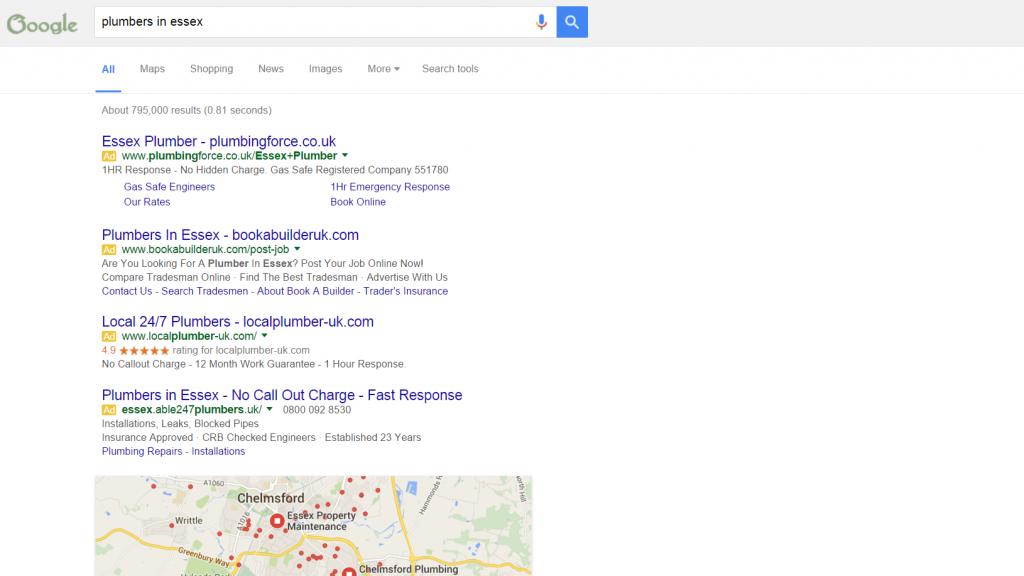 Plumbers in Essex Google AdWords results