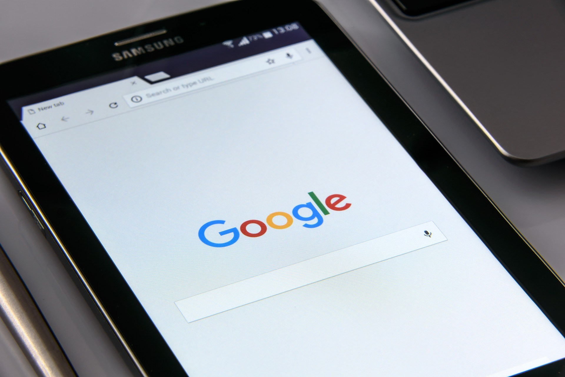 google on a tablet screen