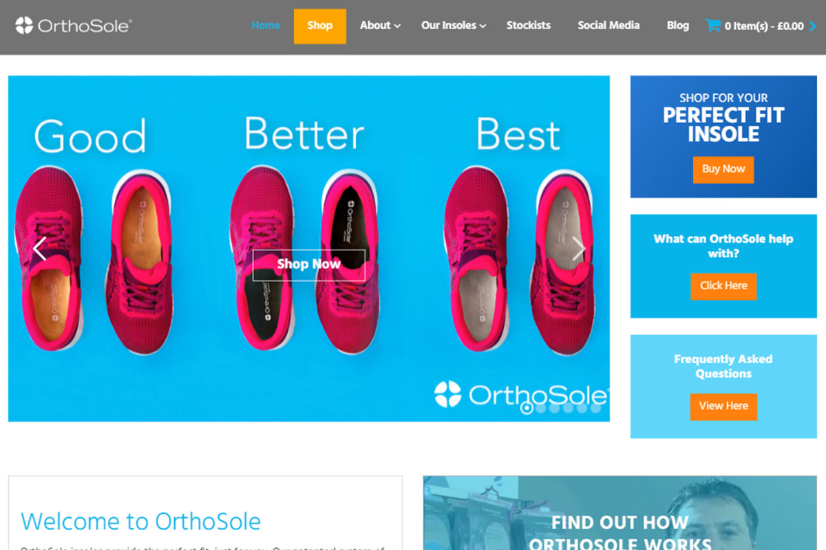 OrthoSole homepage screenshot